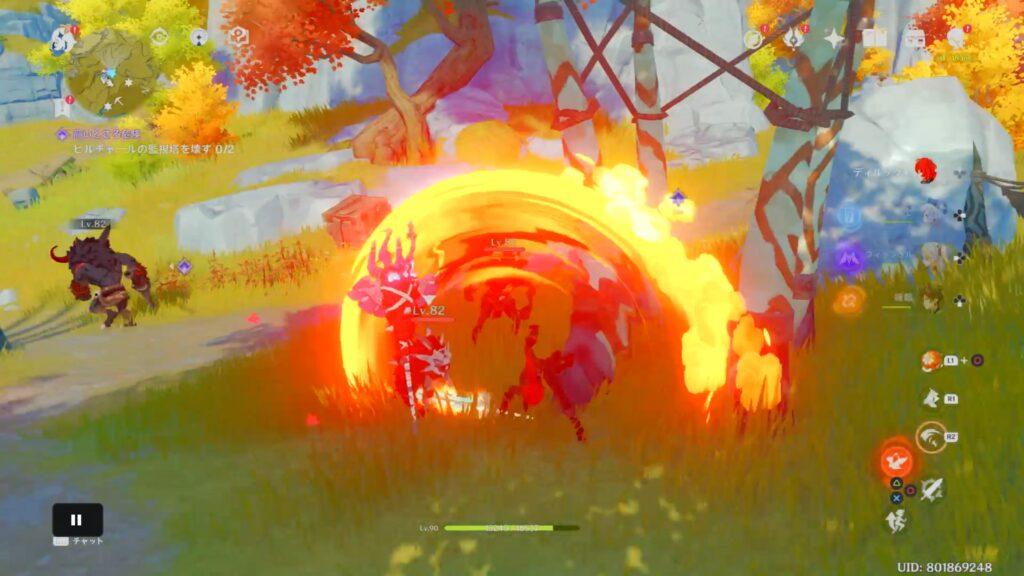 炎を纏った剣による攻撃の元素スキルの3連攻撃